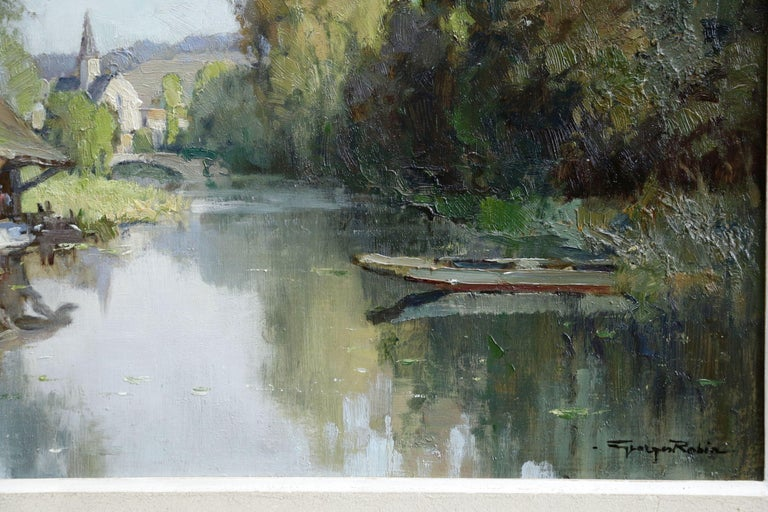 Lavoir sur L'Eure- 20th Century Oil, River & Trees in Landscape by Georges Robin - Gray Landscape Painting by Georges Charles Robin