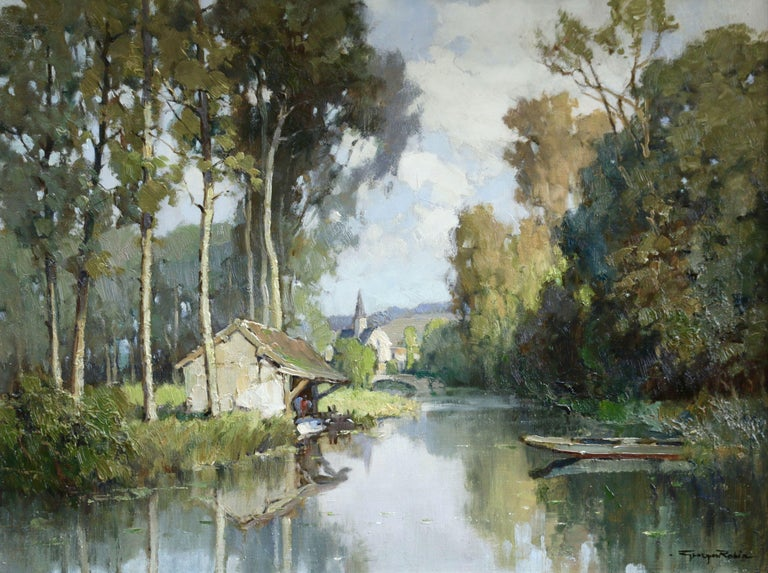Georges Charles Robin Landscape Painting - Lavoir sur L'Eure- 20th Century Oil, River & Trees in Landscape by Georges Robin