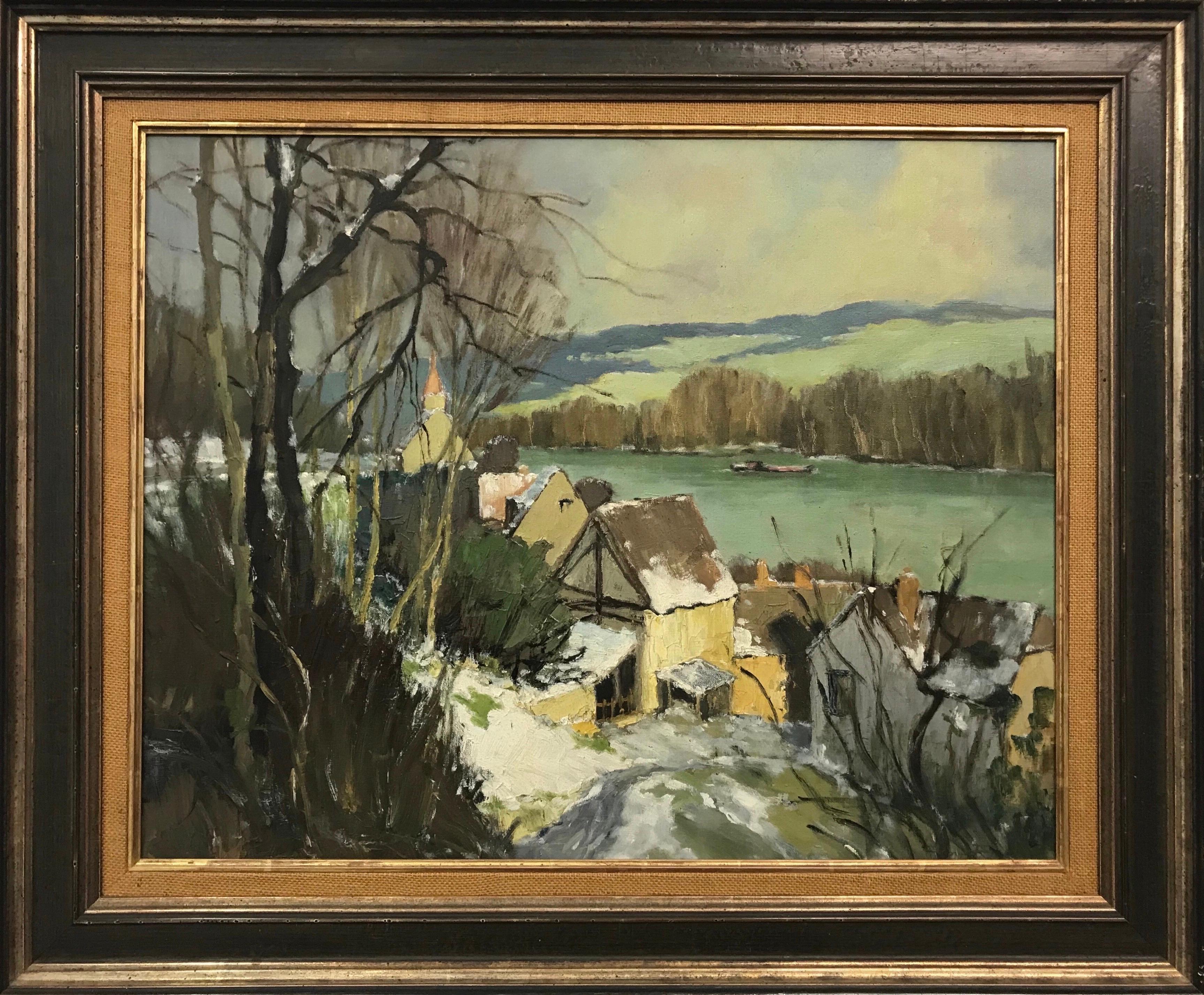 Port-Villez Neige Original French Landscape Impressionistic Riverscape Painting