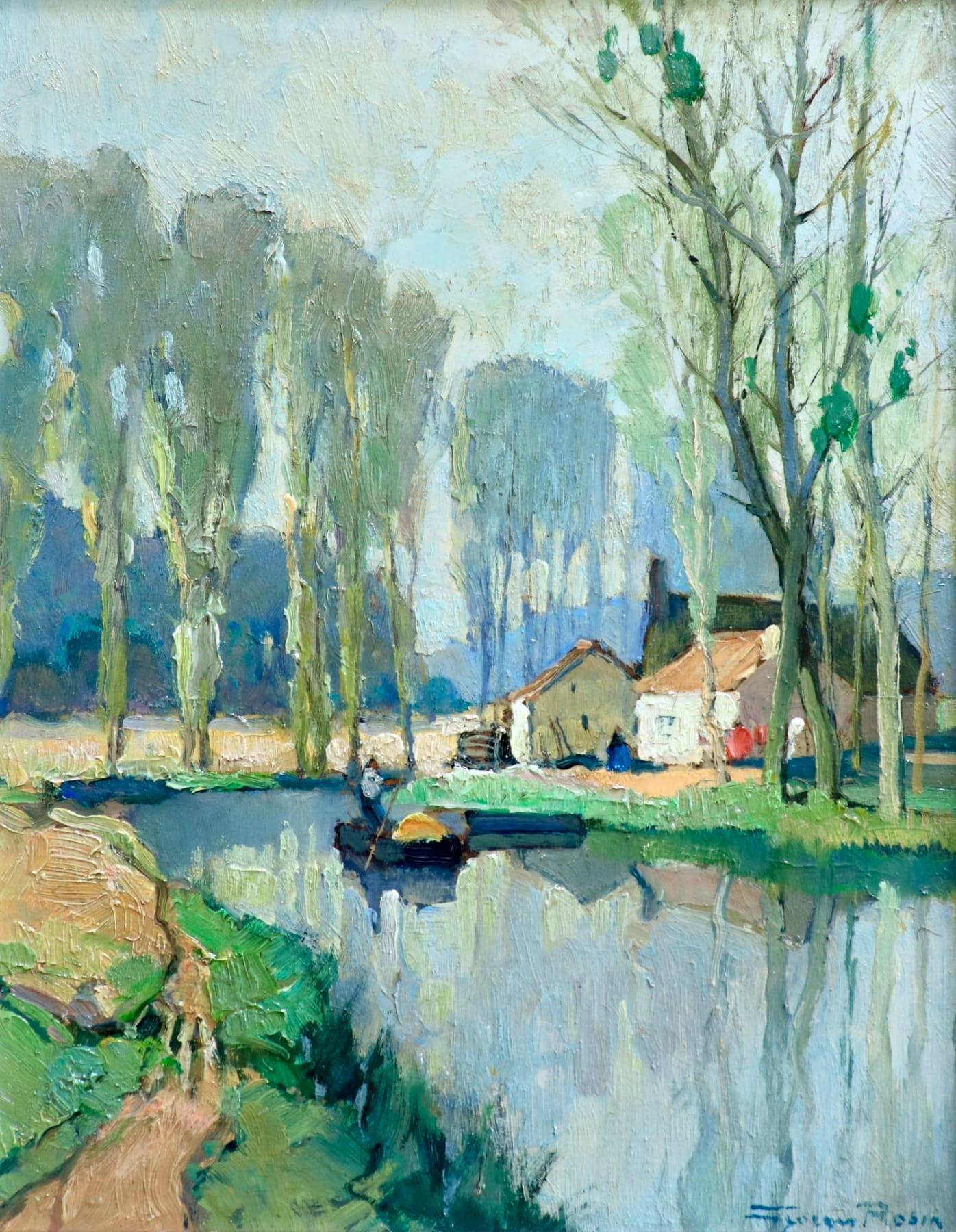 Printemps sur le Fusain - Environs de Chateau-Landon - Riverscape Oil by G Robin