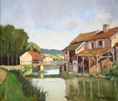 The Mill - Impressionist Oil, Town & River Landscape by Georges Charles Robin