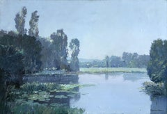 Water Lilies - 20th Century Oil, Trees by a Lake Landscape by Georges Robin
