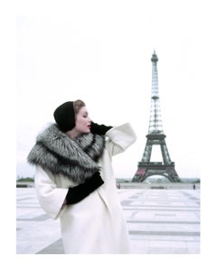 SUZY PARKER ,ELLE MAGAZINE IN GIVENCHY, PARIS EIFFEL TOWER 1954
