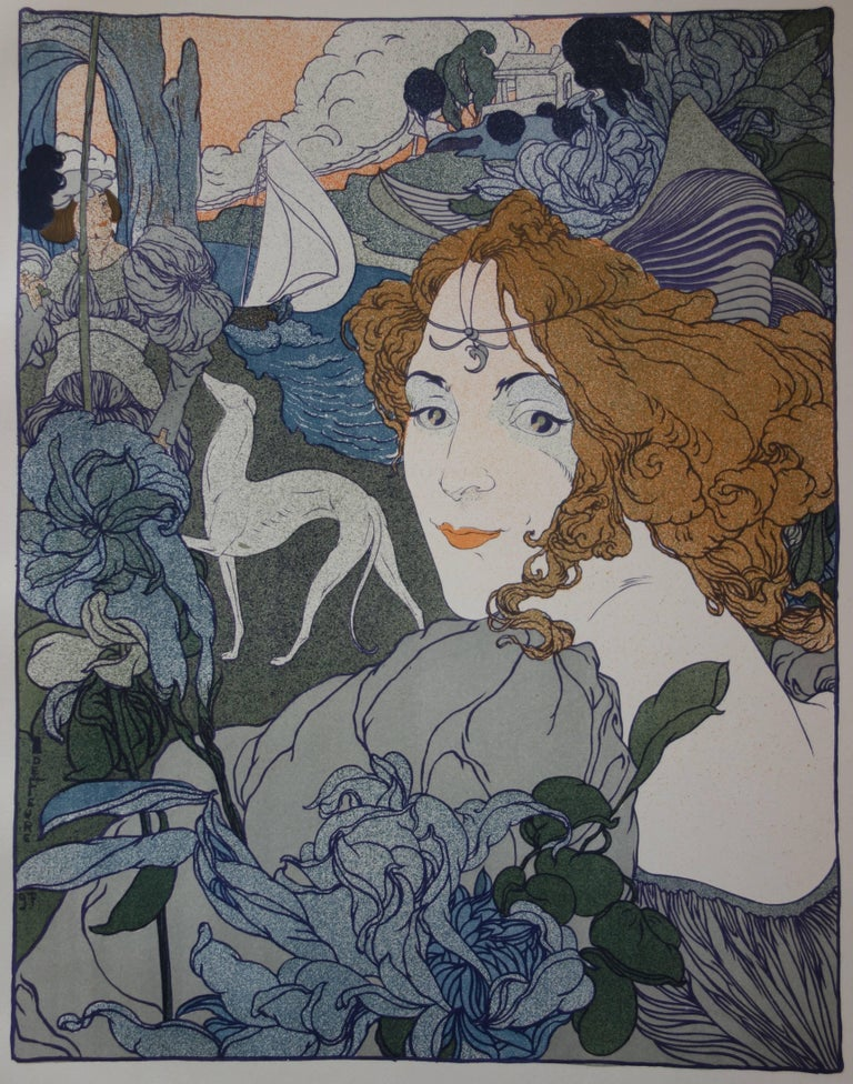Return (Woman, Greyhound and Boat) - Original lithograph (1897-1898) - Art Nouveau Print by Georges De Feure