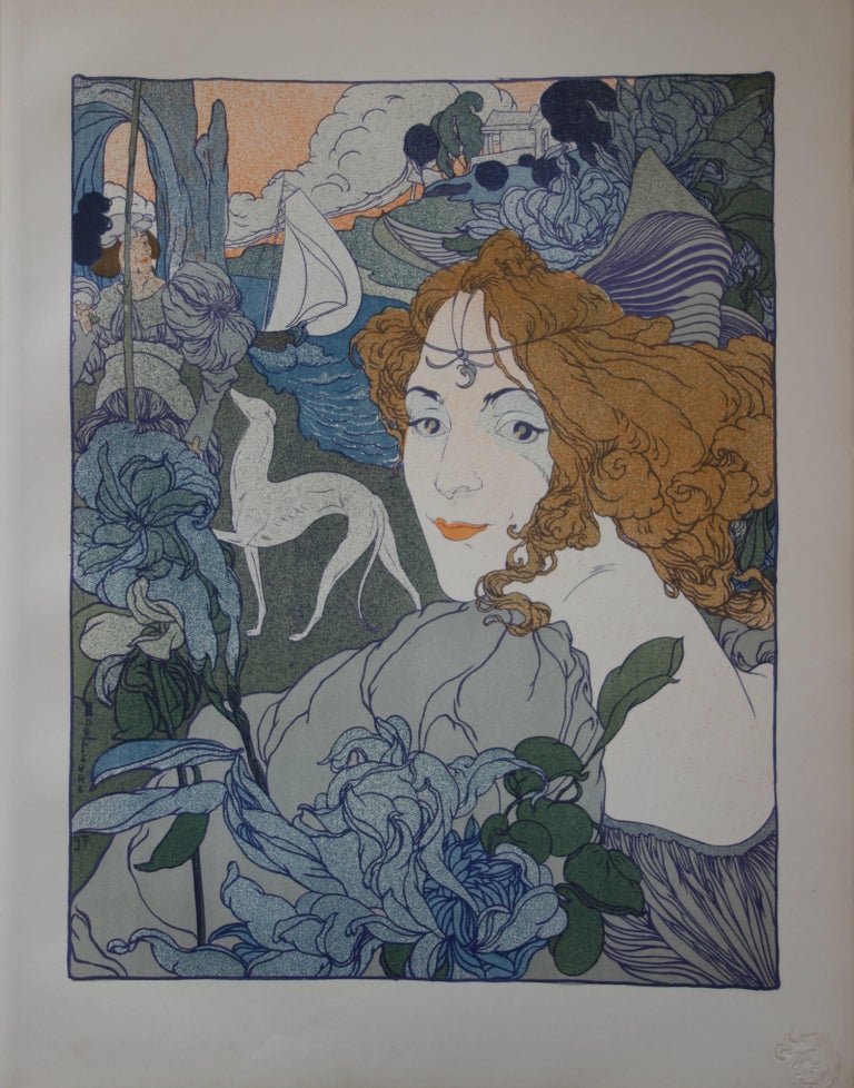 Georges De Feure Figurative Print - Return (Woman, Greyhound and Boat) - Original lithograph (1897-1898)