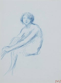 """Jeune Femme Assise,"" Original Blue Pencil Drawing by Georges d'Espagnat"