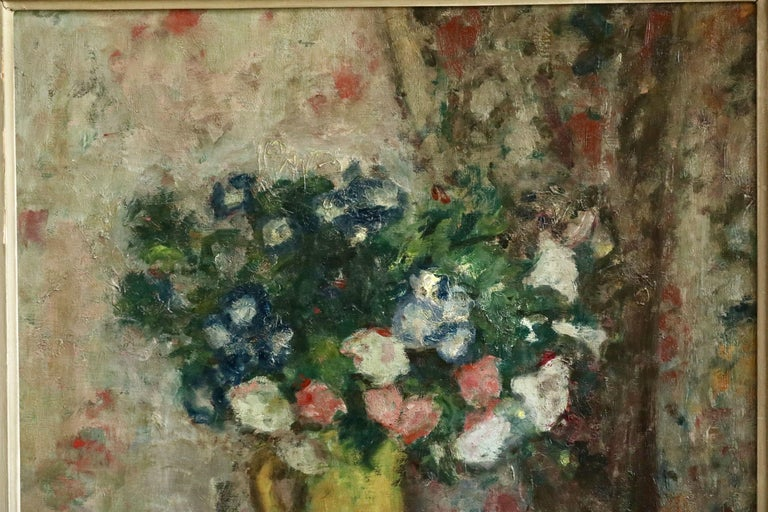 Fleurs - 20th Century Oil, Vase of Flowers in Interior by Georges D'Espagnat For Sale 1