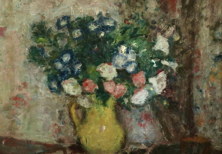 Fleurs - 20th Century Oil, Vase of Flowers in Interior by Georges D'Espagnat For Sale 2