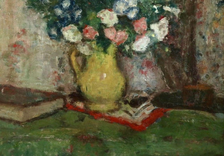 Fleurs - 20th Century Oil, Vase of Flowers in Interior by Georges D'Espagnat For Sale 3