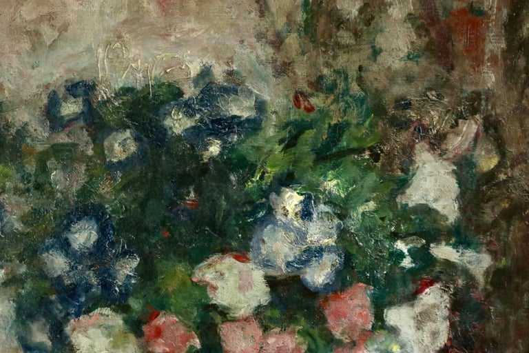 Fleurs - 20th Century Oil, Vase of Flowers in Interior by Georges D'Espagnat For Sale 4
