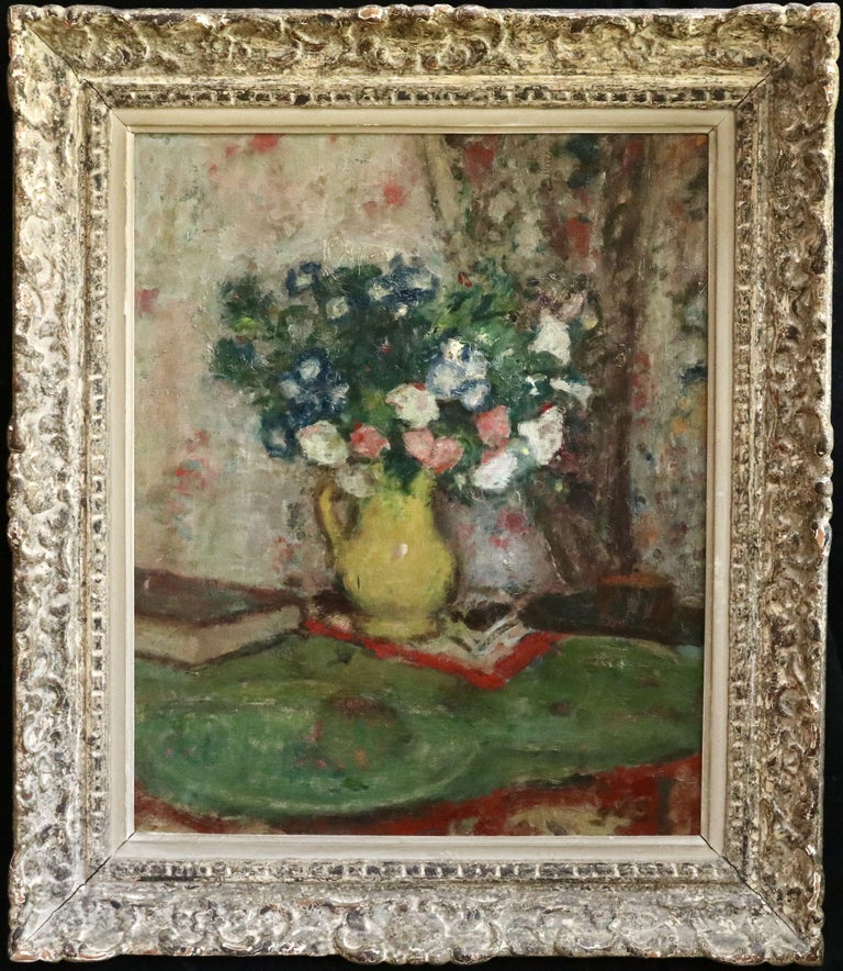 Fleurs - 20th Century Oil, Vase of Flowers in Interior by Georges D'Espagnat For Sale 5