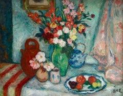 Fleurs, Pommes et Prunes - Post Impressionist Oil, Still Life by G D'Espagnat