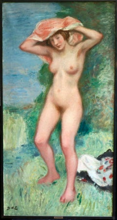 La Baigneuse - huge signed oil of a nude bather by Georges D'Espagnat