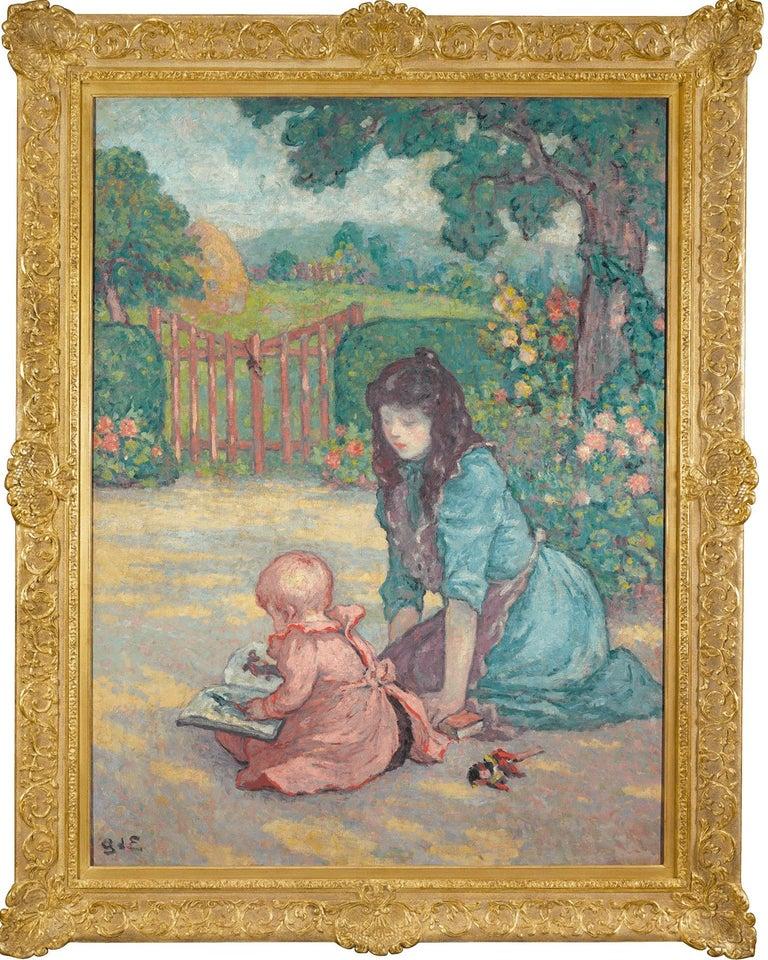 La lecture au jardin (Lesson in the Garden) - Painting by Georges D'Espagnat