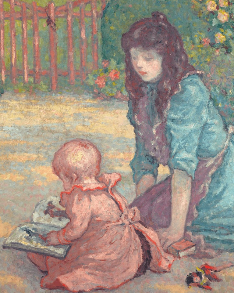La lecture au jardin (Lesson in the Garden) - Post-Impressionist Painting by Georges D'Espagnat