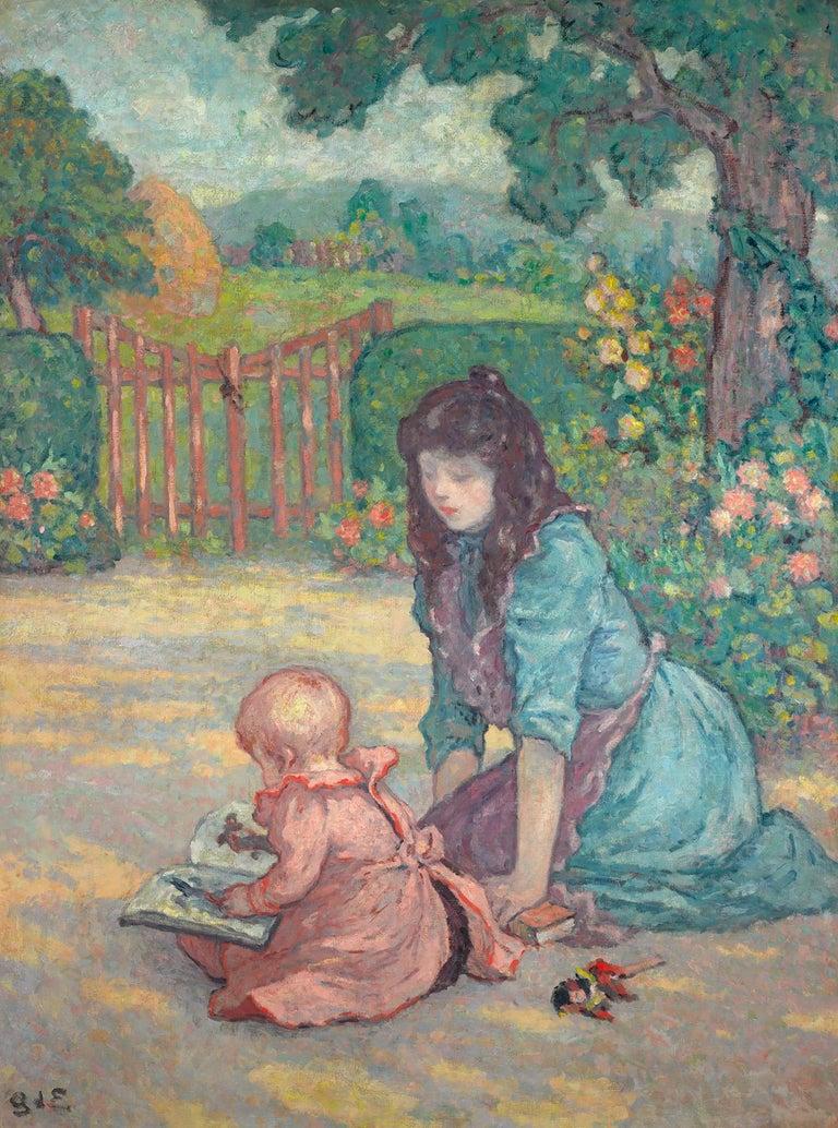 Georges D'Espagnat Figurative Painting - La lecture au jardin (Lesson in the Garden)