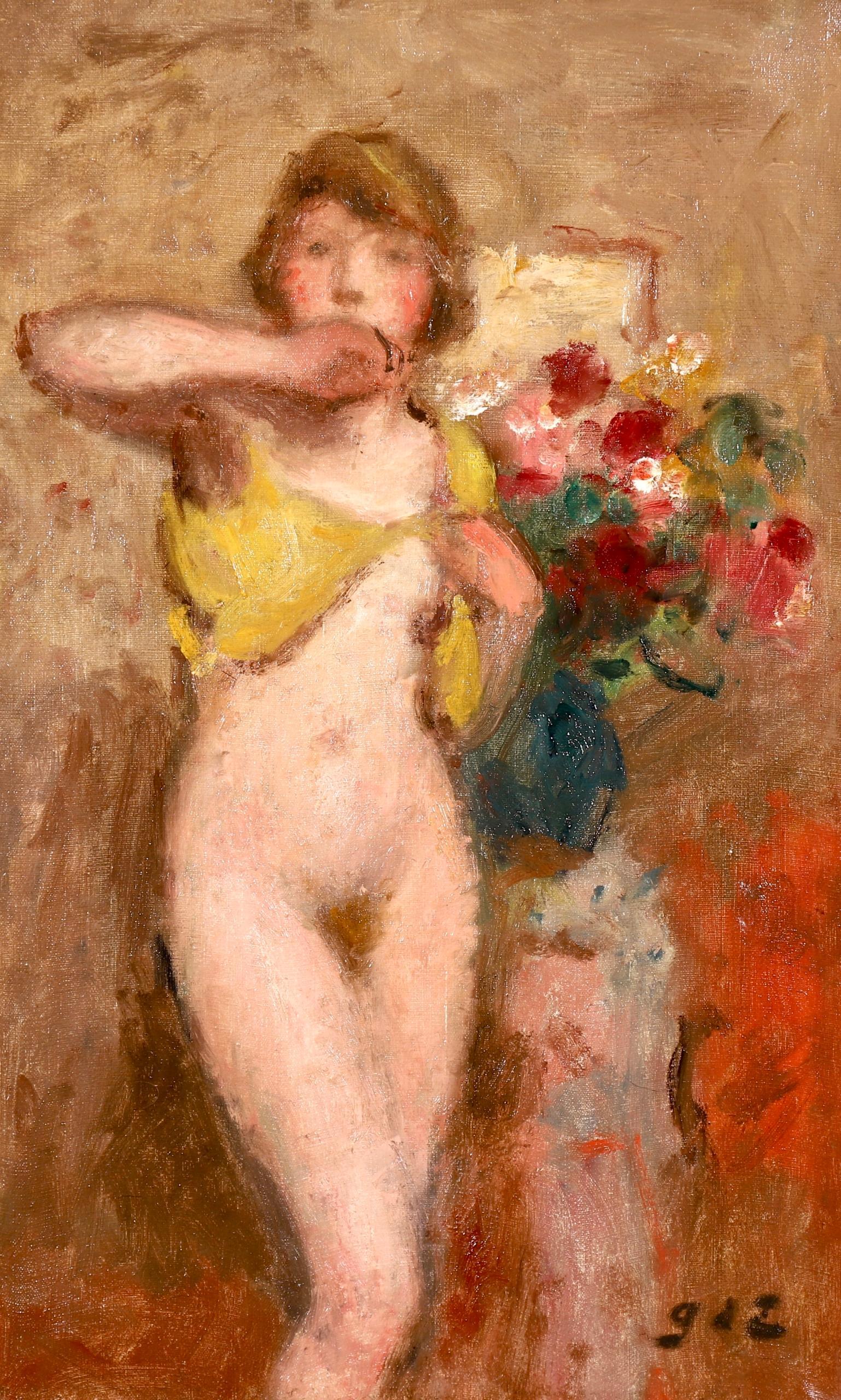 Nu avec des fleurs - Post-Impressionist Oil, Nude & Flowers - Georges D'Espagnat