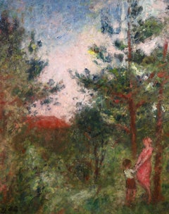 Orchard - Post-Impressionist Oil, Figures in Landscape by Georges D'Espagnat