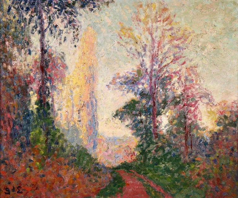 A stunning oil on canvas by French post impressionist painter Georges D'Espagnat depicting a tree-lined path. The colours of the leaves are changing from green to red as the season moved from summer to autumn and the distant trees glow in the low