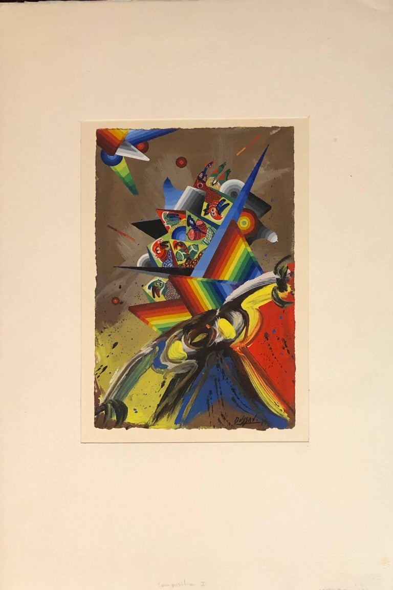 French Surrealist Colorful Futurist Abstract Painting Composition I For Sale 1