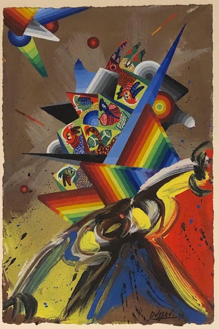 actual image measures 11.25x7.5, titled Composition V on French Arches Mould made paper.   Georges DUSSAU est né le 14 Mars 1947, à Chalon-sur-Saône (France) Il vit et travaille à Mellecey (France) et à Mougins (France) 1962 - 1963 - 1964 -
