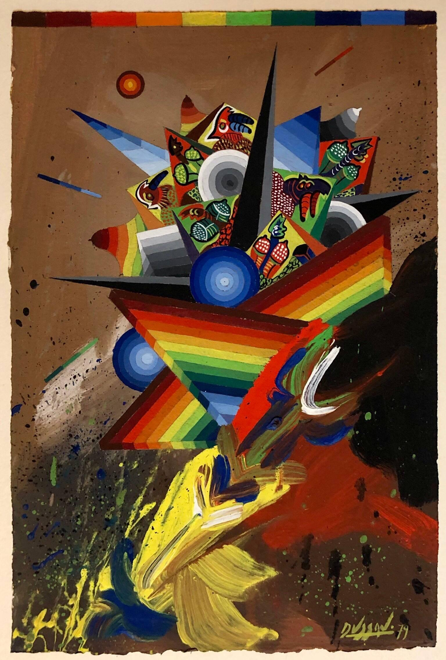 French Surrealist Colorful Futurist Abstract Painting Composition II