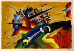 French Surrealist Colorful Futurist Abstract Painting Composition III