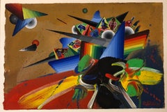 French Surrealist Colorful Futurist Abstract Painting Composition IV