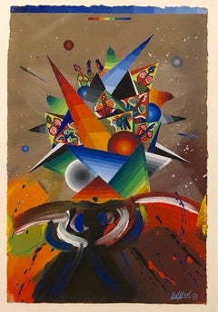 French Surrealist Colorful Futurist Abstract Painting Composition V