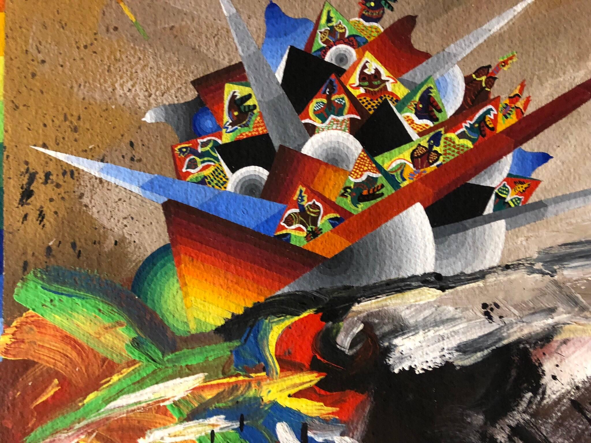 Large French Surrealist Colorful Futurist Abstract Painting