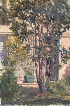 'Le Jardin', Impressionist Landscape of Garden in France, Oil Painting, Signed