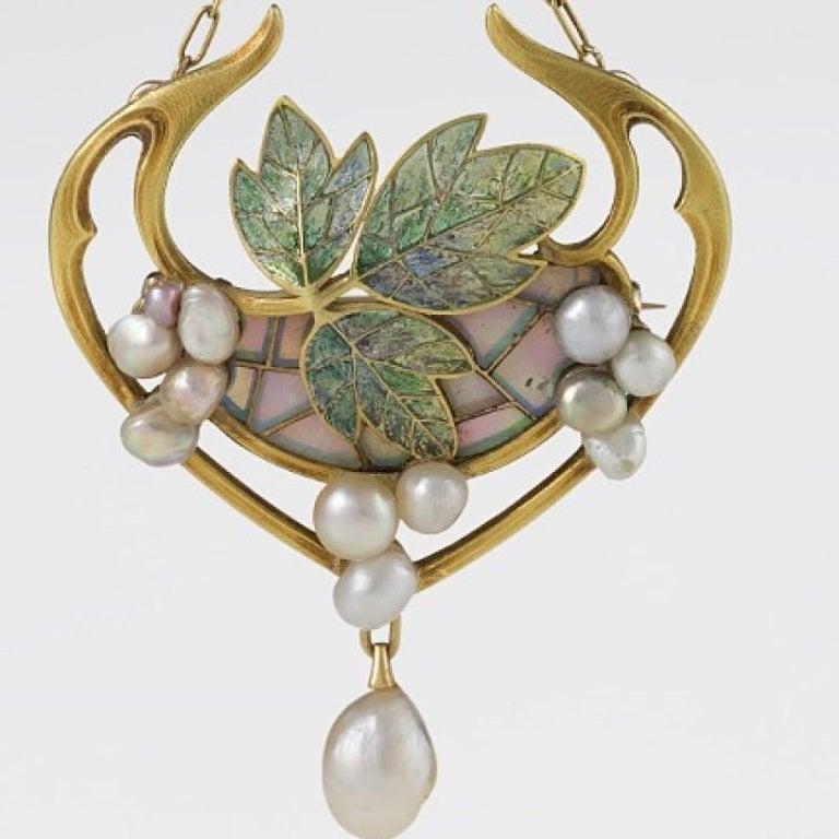 Women's Georges Fouquet French Art Nouveau Opal, Pearl, Gold and Enamel Pendant For Sale
