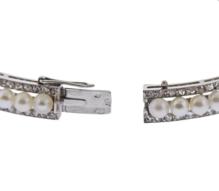 Georges Fouquet Paris Diamond Pearl Platinum Bangle Bracelet In Excellent Condition For Sale In New York, NY