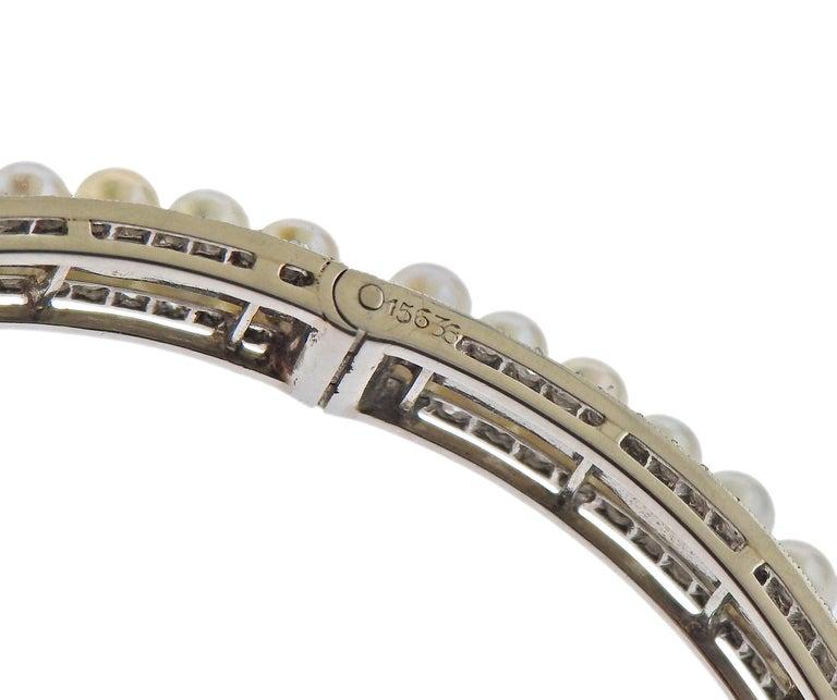 Women's Georges Fouquet Paris Diamond Pearl Platinum Bangle Bracelet For Sale