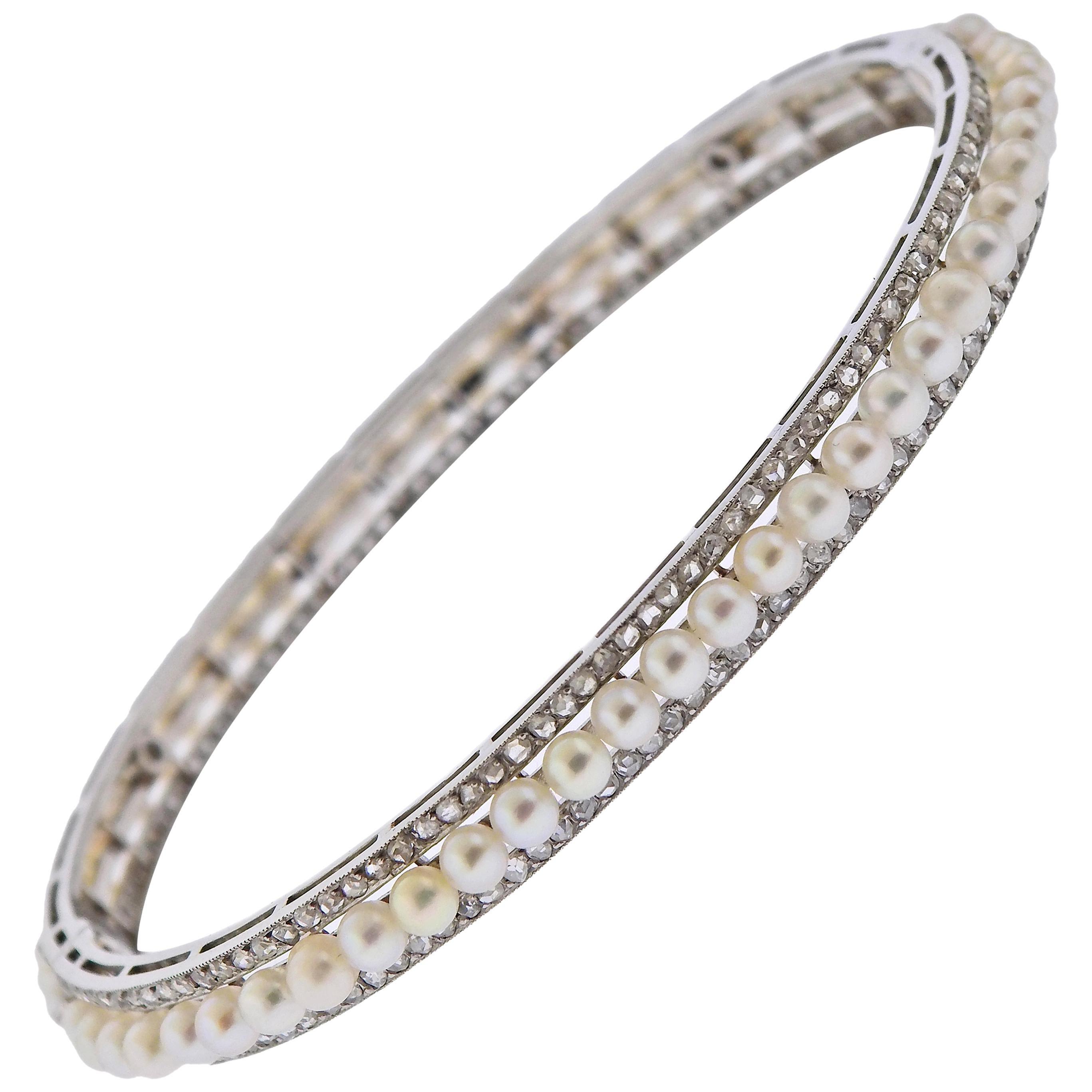 Georges Fouquet Paris Diamond Pearl Platinum Bangle Bracelet
