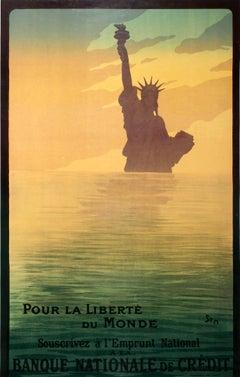 Original Antique WWI Poster Pour La Liberte Du Monde Statue Of Liberty War Loan