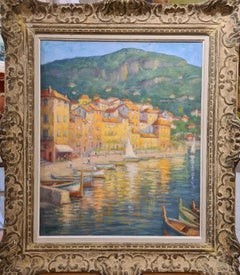 Large mid 20th Century French Impressionist view of Villefranche, Cote d'Azur