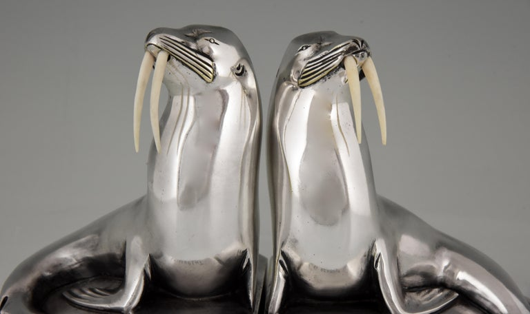Georges H. Laurent Art Deco Silvered Bronze Walrus Bookends France, 1925 For Sale 6