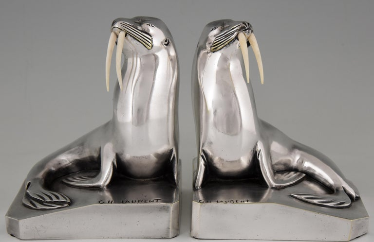 """Beautiful pair of silvered bronze Art Deco walrus bookends by G.H. Laurent,. Signed, numbered and with foundry mark by Les Neveux de Lehman. France 1925.   This pair is illustrated in 2 books: """"Art deco and other figures"""" by Brian Catley &"""