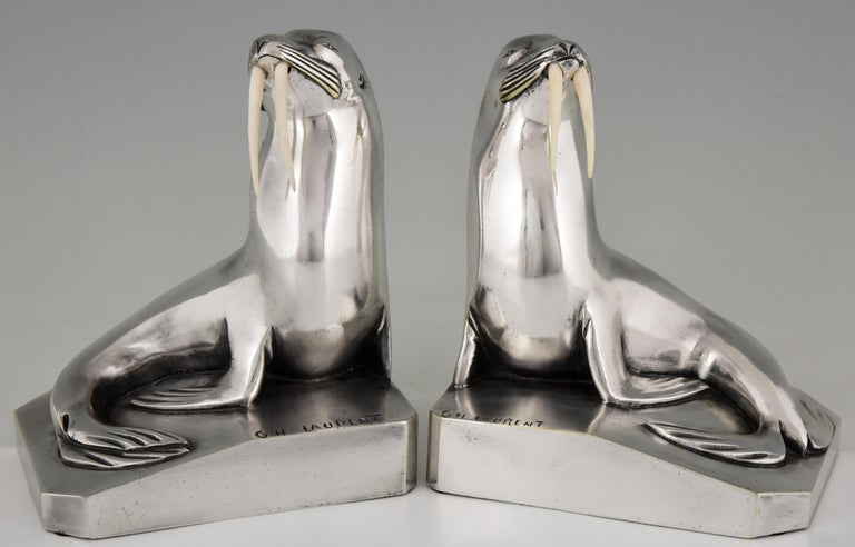 French Georges H. Laurent Art Deco Silvered Bronze Walrus Bookends France, 1925 For Sale