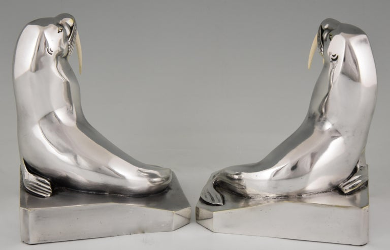 Georges H. Laurent Art Deco Silvered Bronze Walrus Bookends France, 1925 In Good Condition For Sale In Antwerp, BE