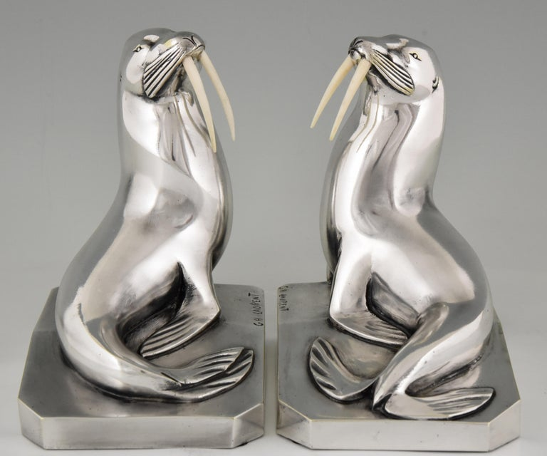 Georges H. Laurent Art Deco Silvered Bronze Walrus Bookends France, 1925 For Sale 1