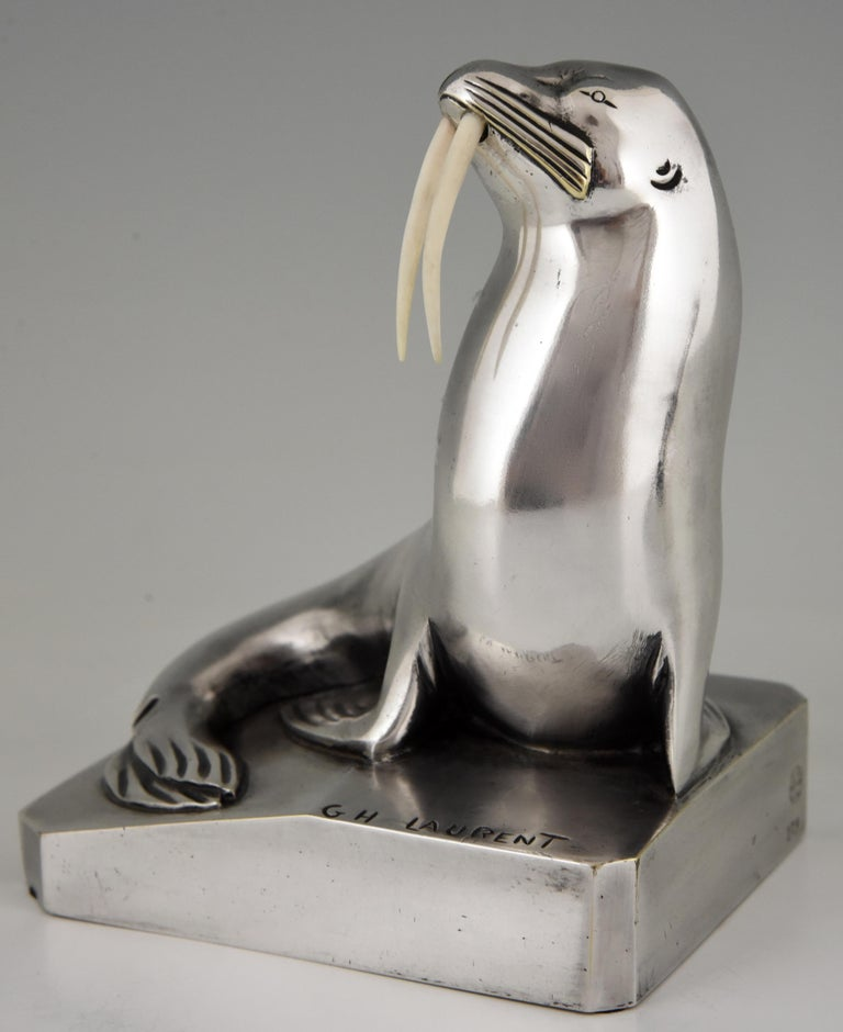 Georges H. Laurent Art Deco Silvered Bronze Walrus Bookends France, 1925 For Sale 3