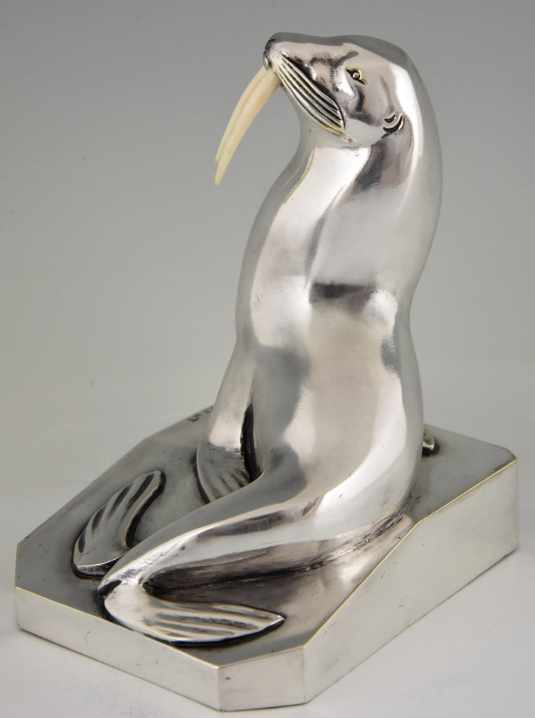 Georges H. Laurent Art Deco Silvered Bronze Walrus Bookends France, 1925 For Sale 4