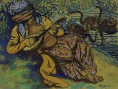 L'Orientale à la Mandoline by GEORGES MANZANA PISSARRO - Orientalist art