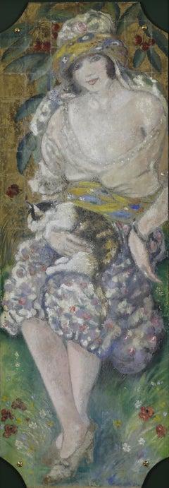 L'Orientale au Chat by Georges Manzana Pissarro, mixed media, 1926