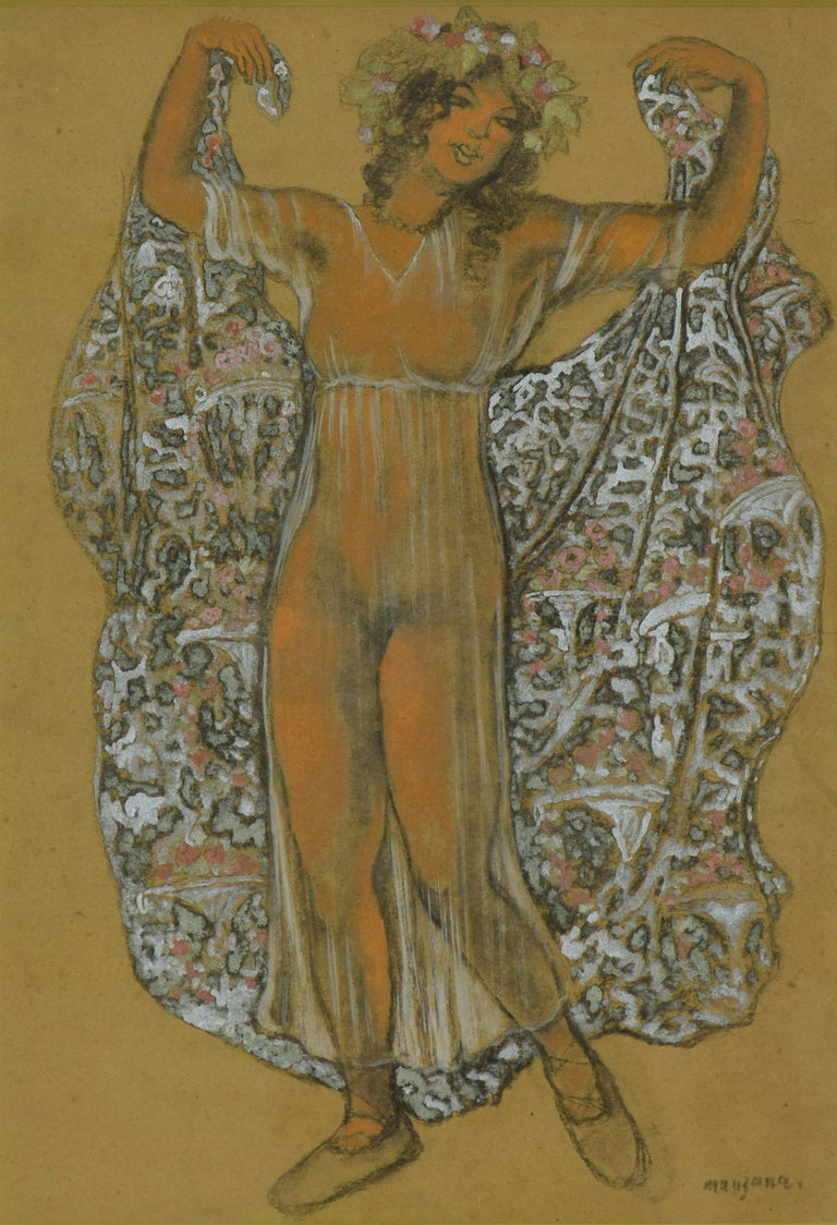 Oriental Dancer by GEORGES MANZANA PISSARRO (1871-1961)  Mixed media with gold and silver on paper 52 x 36 cm (20 ¹/₂ x 14 ¹/₈ inches) Signed lower right, Manzana Executed circa 1910   Provenance Private Collection, France  This work is accompanied