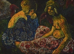 Scène Orientaliste, Deux Femmes Assises et Dindons by Georges Manzana Pissarro