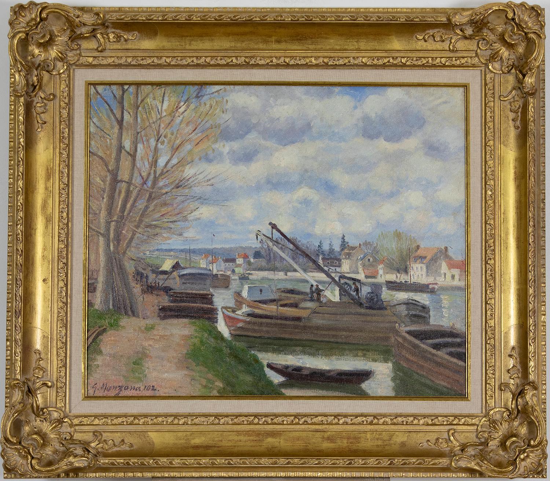 Barges on the Seine (Péniches sur la Seine) by Georges Manzana Pissarro