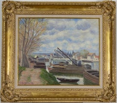 Barges on the Seine (Péniches sur la Seine) by Georges Manzana Pissarro